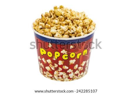 popcorn in a cardboard bucket, salty, single - stock photo