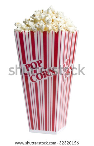 Popcorn in a popcorn box on white background - stock photo