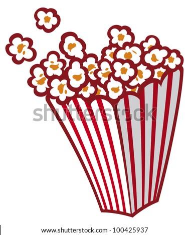 Popcorn in a striped tub - stock photo