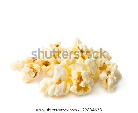 popcorn isolated on a white background - stock photo