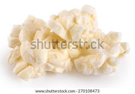 Popcorn isolated on white background. Macro. - stock photo