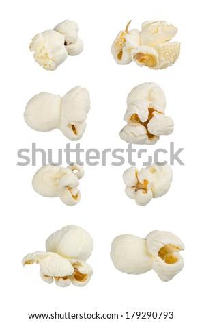 Popcorn isolated on white. Extra large macro set. - stock photo