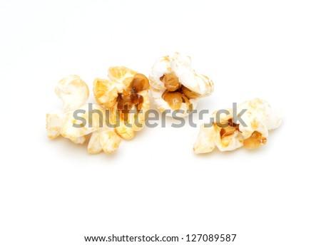 popcorn on a white background. macro - stock photo