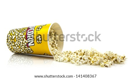 Popcorn on white background - stock photo