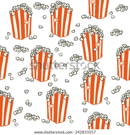 popcorn seamless pattern on white - stock photo