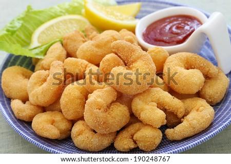 popcorn shrimp with ketchup sauce - stock photo