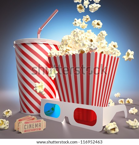Popcorn, soda, 3D glasses and movie tickets, ready for the film. - stock photo