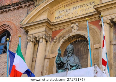 Pope Gregory XIII statue on facade of the Palazzo Comunale in Bologna. Italy - stock photo