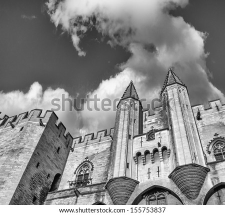 Popes' Palace of Avignon, unesco world heritage in Southern France - stock photo