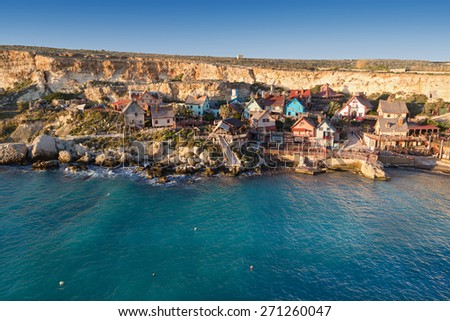 Popeye village at Malta. It was built as a film set for film Popeye and today it is one of the major tourist attractions on the Maltese Islands. - stock photo