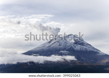 popocatepetl volcano in mexico in summer  - stock photo