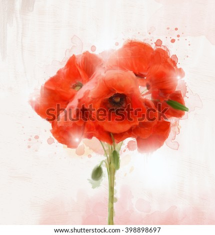 Poppies bouquet - Oil painting - stock photo