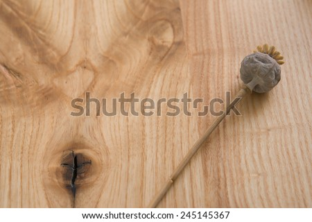 Poppy seeds on a wooden table textural - stock photo
