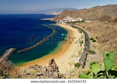 Popular beach Playa de Las Teresitas, Tenerife - stock photo