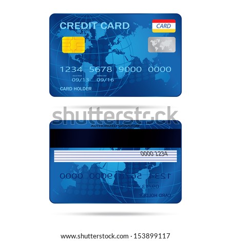 popular blue premium extended business credit card isolated - stock photo