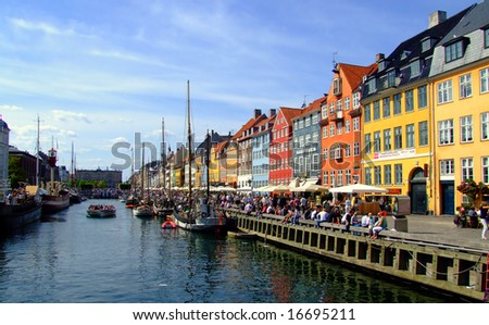 popular drinking area for tourists in Copenhagen by the canal-side. - stock photo