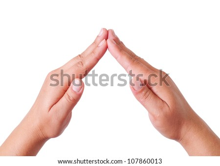 Popular gesture (home) isolated on a white background , with clipping path included - stock photo