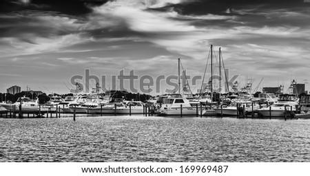 Popular marina in Destin, Florida on the Gulf of Mexico - stock photo