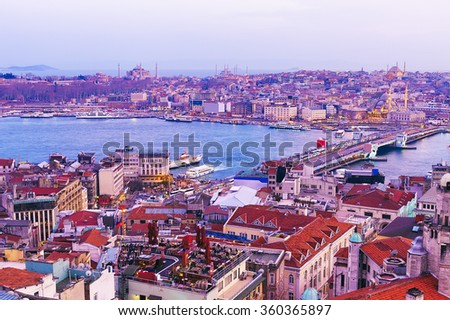 Popular places of Istanbul from Galata Tower - stock photo
