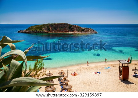 popular Portals Nous (Playa Oratorio) beach in Mallorca, Spain - stock photo
