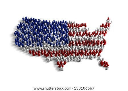 Population of the United States represented by 3d character on white background - stock photo