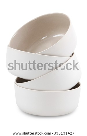 porcelain bowls on a white background - stock photo