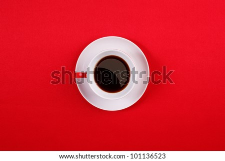 Porcelain coffee cup and saucer white on a white background - stock photo