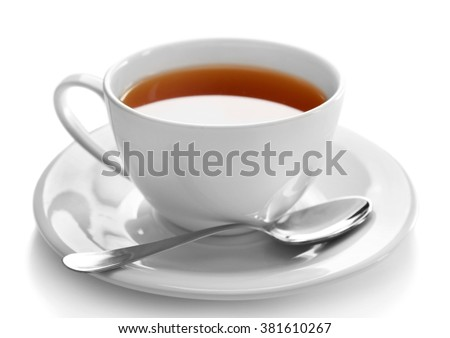 Porcelain cup of tea isolated on white background - stock photo
