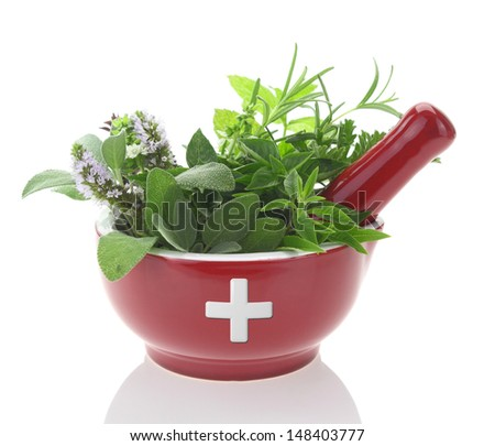 Porcelain mortar with medicine cross and fresh herbs - stock photo
