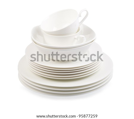 porcelain plate isolated on a white - stock photo