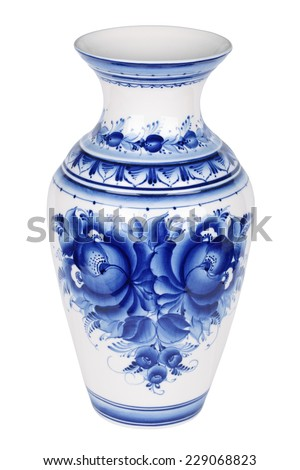 Porcelain vase painted under Gzhel with the traditional pattern, isolated on white background - stock photo