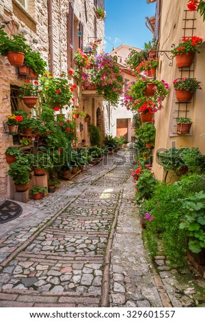 Porch in small town in Italy in sunny day, Umbria - stock photo