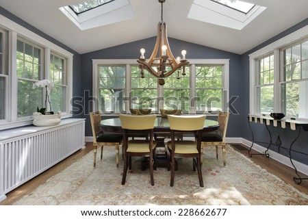 Porch in suburban home with skylights - stock photo