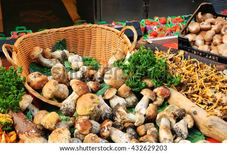 Porcini and chanterelle mushrooms in wicker basket for sale at local organic market in Paris (France).  - stock photo