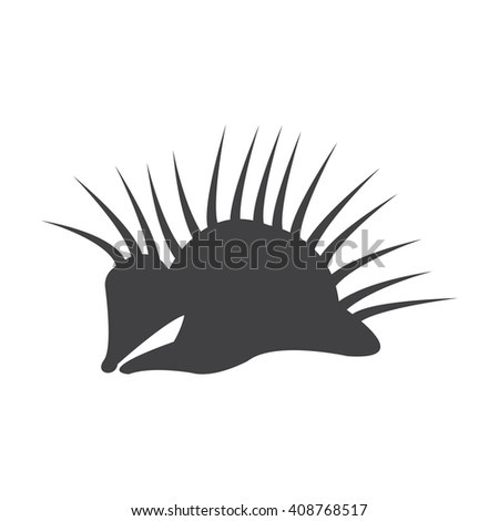 porcupine black simple icon on white background for web design - stock photo