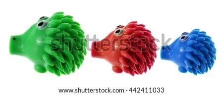 Porcupines on White Background - stock photo