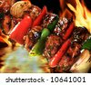 pork barbecue on flaming hot background - stock photo