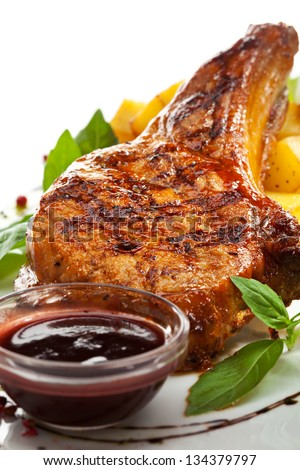 Pork Brisket with Potato and Sauce - stock photo