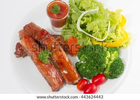 Pork Chop white tomato sauce - stock photo