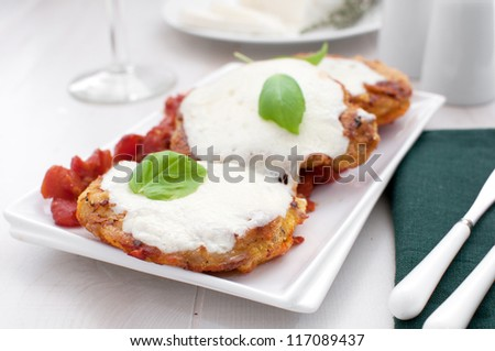 Pork chops fried in breadcrumbs with melted cheese - stock photo