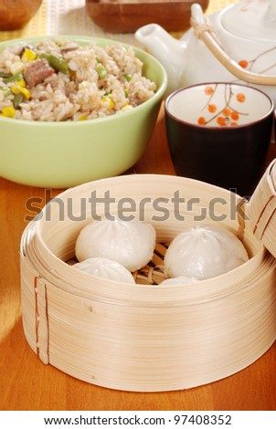 Pork dumplings Shallow DOF - stock photo