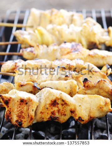 Pork meat on grill (shashlick) - stock photo