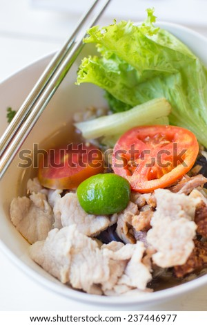 pork noodle. - stock photo