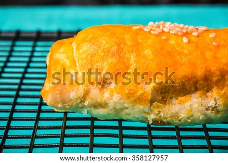 Pork Pie. Layer Pie Filled with Roasted BBQ Red Pork. Asian Style, Chinese Dim Sum Menu. Homemade Fresh Baked. Selective Focus. - stock photo