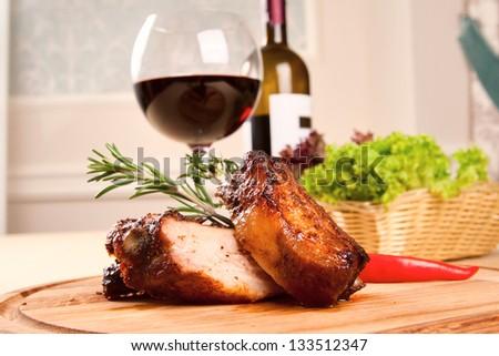Pork ribs and wine - stock photo