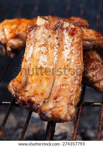 pork ribs with barbecue - stock photo