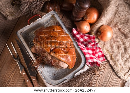 pork roast with crackling - stock photo