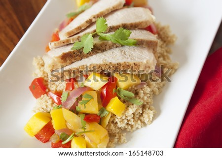 Pork Tenderloin with Mango-Chili Sauce, pork tenderloin family meal - stock photo