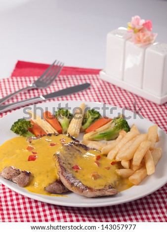 pork with mustard source - stock photo