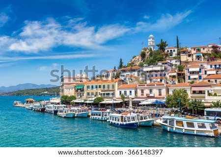 Poros island in a summer day in Greece - stock photo